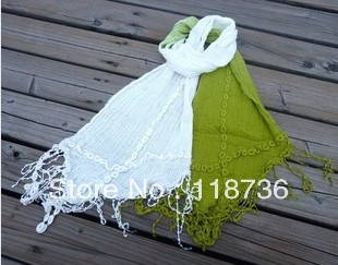 The scarf gradual change color cotton embroidery tassel fringe four lace scarf  fashion embroidery scarf  free shipping