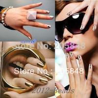 16pcs/sheet Nail Art Foil Sticker Gold/Silver Nail Wrap Shiny Nail Decal Patch Decor