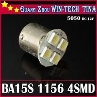 New Free shipping 20pcs Car 1156 BA15S 4 LED 5050 SMD Tail Brake Turn Signal White Light Bulb Lamp