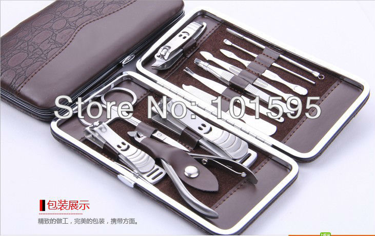 12 in 1 Nail Clipper Kit Nail Care Set Pedicure Ear pick Utility Stainless Steel Manicure Set Tools Free Shipping(China (Mainland))
