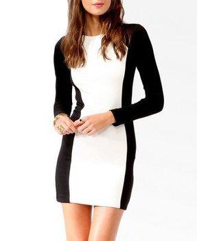 Free Shipping ZA 2013 Ladies' Black  White Cotton Dress ,Joint Hit Colour Long Sleeve Women' Sexy Brand Dress#03