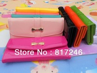Hotest,high quality PU patent leather, long women's wallet, Bow female Purse,women purse,female wallet,8 color,free shipping