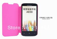 original lenovo A830 leather case(black/white/brown/blue/pink),lenovo A830 flip case +lenovo A830 screen protector,free ship