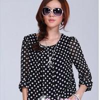2014 New Spring Summer Autumn Polka Dot Chiffon Shirts For Women Fashion Tops Plus Size 3XL 4XL Blouses Women Clothing