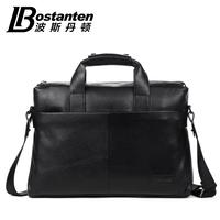 """business versatile black cowhide Genuine leather men handbag briefcase shoulder bag for 14"""" laptop"""