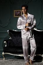 Pajamas two-piece outfit  pajamas  Silk pajamas Men's pyjamas Grid pajamas free shipping(China (Mainland))