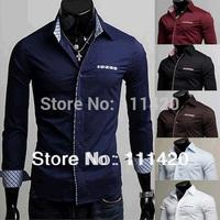 Unique Neckline Slim Fit XXL Men Shirt Brand Turn-Down Collar Long Sleeve Single Breasted Cotton Stylish Dress Shirts 8.19 Sale