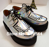 2014 sexy fashion Creepers high quality NEW cute Punk Silver ladies creeper platform creepers shoes S1201907 party FREE shipping