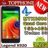 Singapore / HK Legend X920 MTK6589 Quad Core 1.2GHZ 1GB RAM 4G ROM 5.0 HD 1280x720 3G  x920e android 4.2 mobile phone Russian