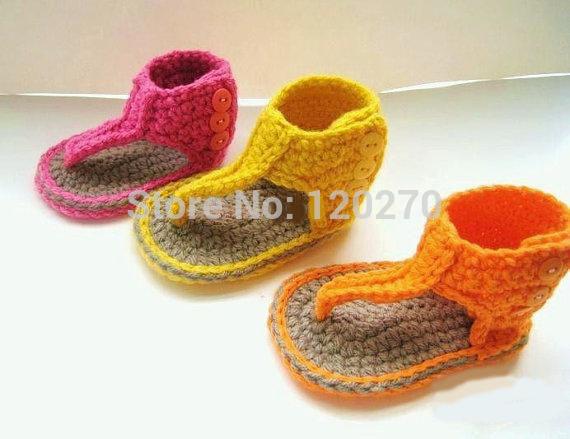 Summer Baby Boys Girls Crochet Sandal Thongs Slippers Newborn Infant Toddler Prewalker Kids Knitting Crochet Shoes Cotton 0-12M(China (Mainland))