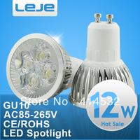 4pcs/lotFree Shipping High Power epistar 12W LED Bulb Light Spotlight Dimmable Lamp AC85-265V 4x3W Downlight, E27 GU10 MR16 12V