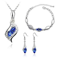 Hot Sale Prom Angel Tear Drop Necklace Earrings Bracelet Fashion Crystal Jewelry Set 2014 Free Shipping