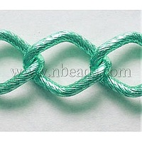 Twist Rhombus Aluminum Chain,  Oxidated in Green,  Link:23.5x17.5mm