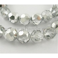 "13"" Faceted Round Glass Beads,  Clear,  Plated With Silver,  Beads: 6mm in diameter,  hole: 1mm,  about 50pcs/strand"