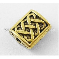 Tibetan Style Beads,  Lead Free & Cadmium Free & Nickel Free,  Antique Golden,  Rectangle,  Size: about 6mm wide,  7mm long