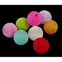 Flocky Acrylic Beads,  MixedColor,  Round,  14mm in diameter,  hole: 2mm. about 340pcs/500g