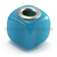 Lampwork European Beads,  Large Hole Beads,  with Silver Color Brass Core,  Cube,  Blue