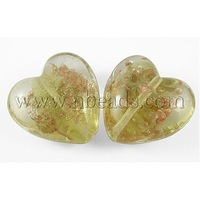 Handmade Gold Sand Lampwork Beads,  for Mother's Day Gift Making,  Heart,  MilkYellow,  about 35mm wide,  35mm long