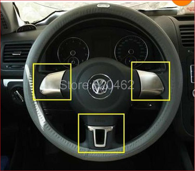 Chrome Steering Wheel trim for Volkswagen Golf 6 MK6 2010-2013 five generations Polo 2011-2014(China (Mainland))