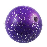 Colorful Acrylic Beads,  Glitter,  Round,  Purple,  Size: about 26mm in diameter,  hole: 3mm,  about 48pcs/500g