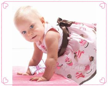HB48  Cotton baby dress/ girl cute blue summer sleeveless kids dress, retail and ...