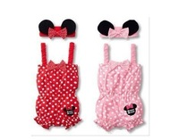 Free shipping baby girl clothing sets (2PC)/ romper+headband/ pink and red color/ retail and wholesale Honey Baby HB53