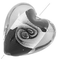 Handmade Silver Foil Glass Beads,  Mother's Day Jewelry Making,  Heart,  Black,  about 20mm wide,  20mm long,  hole; 2mm