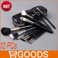 Free Shipping! 12pcs Make up Brushes set,1 set 12 PCs Black Zipper Sticks Pack Portable Makeup Brush Sets,12 Makeup Brush set