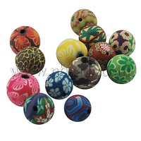 Stock Deals Handmade Polymer Clay Beads,  Round,  Mixed Color,  about 14mm in diameter,  hole: 2mm
