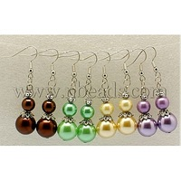 Round Pearl Glass Earrings,  with Tibetan Style Beads and Brass Earring Hook,  Mixed Color
