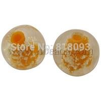 Handmade Luminous Lampwork Beads,  Round,  Yellow,  8mm,  Hole: 1.5mm