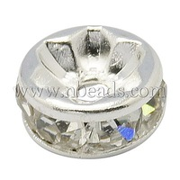 Rhinestone Beads,  Brass,  Grade A,  Flat Round,  Silver Metal Color,  Clear,  Size: about 8mm in diameter,  4mm thick