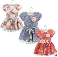 2013 spring casual short sleeve girls flowers dresses kids beach dresses brand dress for girls children wear free shipping