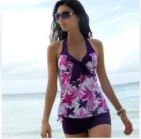 Top quality 2014 swimwear Plus size tankinis set steel split female hot spring swimsuit 2 piece beachwear free shipping