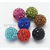 Grade A Rhinestone Beads,  Polymer Clay,  Round,  Mixed Color,  Size: about 12mm in diameter,  hole: 1.2mm