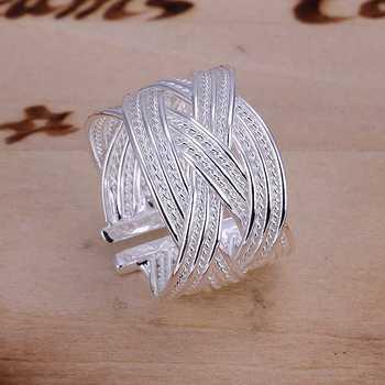 925 Sterling Silver Ring Fine Fashion Big Net Weaving Silver Jewelry Ring Women&Men ...