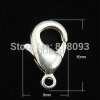 Stock Deals Brass Lobster Clasps,  Silver,  15x9x3mm,  Hole: 2mm