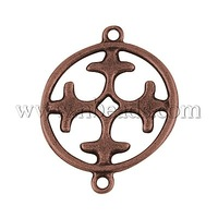 Closeout Alloy Links,  Lead Free & Nickel Free,  Flat Round,  Antique Bronze,  24.5x19x1.5mm,  Hole: 1.5mm