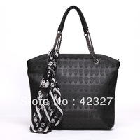 Fashion Women PU Leather Handbag Skull Totes Shoulder Bag With Skull Pattern Scarf Wholesale HB-039