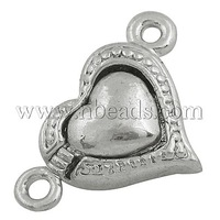 Alloy Magnetic Clasps,  Heart,  Platinum Color,  Size: about 21.5mm wide,  13mm long,  hole: 2mm