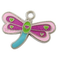 Alloy Enamel Pendants,  Dragonfly,  Lead Free & Cadmium Free & Nickel Free,  Colorful,  about 18mm long, 24mm wide