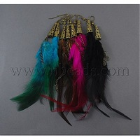 Stock Deals Carnival Jewelry,  Mardi Gras Feather Earring,  with Iron Ear Hooks,  Mixed Color,  138x32mm