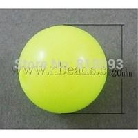 Neon Acrylic Beads,  Round,  Yellow,  20mm,  Hole: 3mm