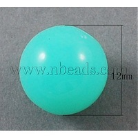 Neon Acrylic Beads,  Round,  Cyan,  12mm,  Hole: 2mm