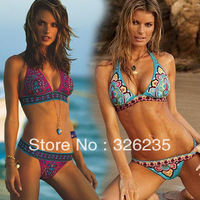 Free Shipping 2013 Fashion Print Pattern Bathing Suits Halter Top&Bikini Bottom Swimsuits For Women Sexy Bikini Set