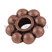 Most Wanted Findings Alloy Spacer Beads,  Lead Free and Nickel Free,  Flower,  Red Copper,  8x3mm,  Hole: 2mm