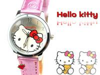 HK Post Free Shipping Wholesale Cute Hello Kitty Pink Leather Cartoon Watches Analog Quartz Wrist watches Children Reloj TWC010