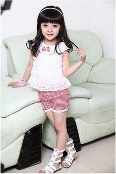 2013 New Summer Kids Clothing Set Lace Children Girl Clothes Set T Shirt And Lattice shorts Pants 2 Colors Infant Garment
