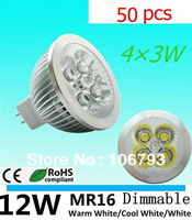 50pcs/lot Dimmable LED Lamp MR16 E27 E14 GU10 GU5.3 B22 4X3W 4W LED Light Bulbs High Power LED Spotlight