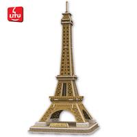 LITU 3D PUZZLE_world's famous architecture_Eiffel Tower model landscape Educational toy construction